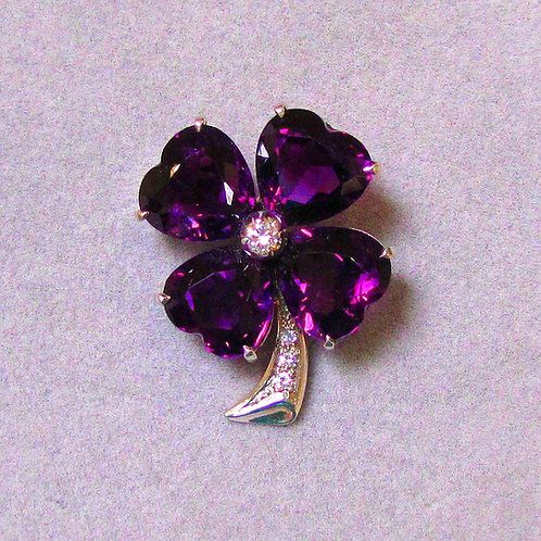 White Gold Amethyst and Diamond Shamrock Pin