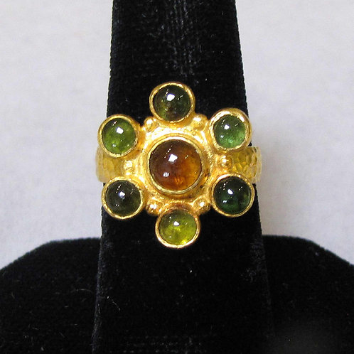 24K Gold and Cabochon Tourmaline Cluster Ring, Signed OMER