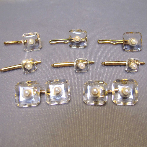 Antique Rock Crystal and Pearl Tuxedo Set with Studs & Cufflinks