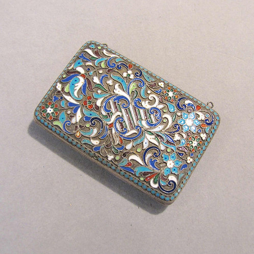 Antique Russian Silver and Enamel Compact / Purse with Chain