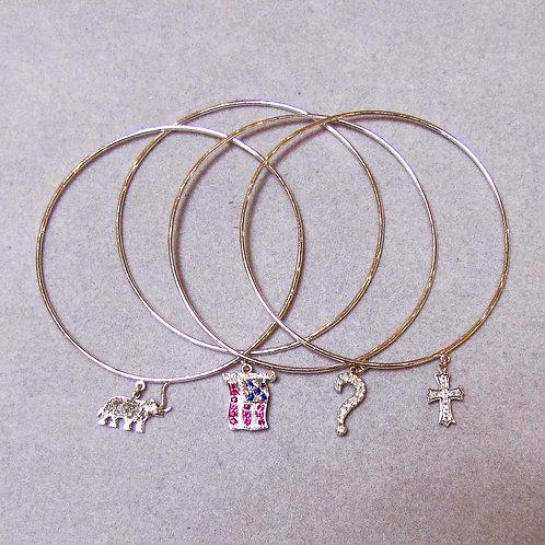 Choice of 18K Bangle Bracelets with Attached Gem-Set Charms