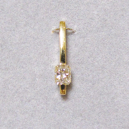 Modern Radiant Cut Diamond Solitaire Pendant