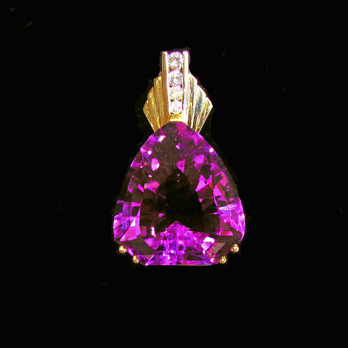 14K Custom Cut Amethyst and Diamond Pendant