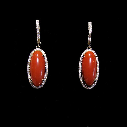 Red Coral and Diamond Yellow Gold Drop Earrings