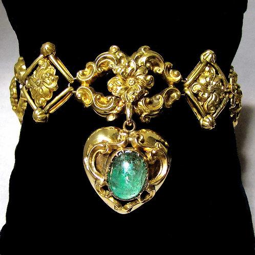 Early Victorian 18K and Emerald Heart Dangle Bracelet