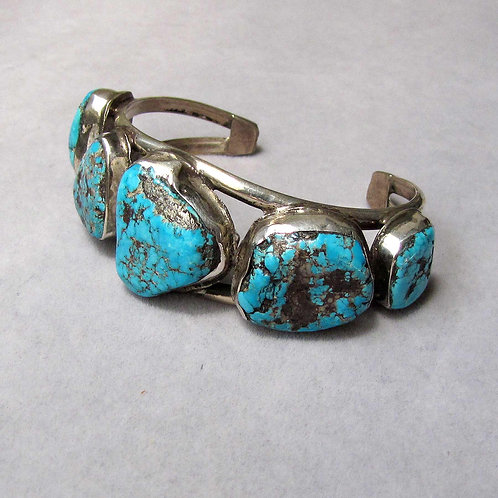 Navajo Sterling Silver and Large Turquoise Nugget Cuff Bracelet