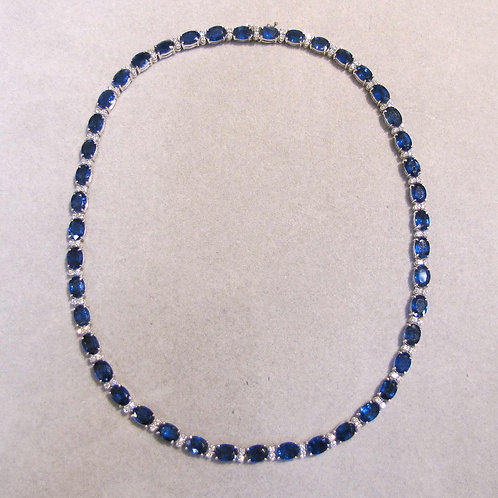 18K White Gold Sapphire and Diamond Line Necklace