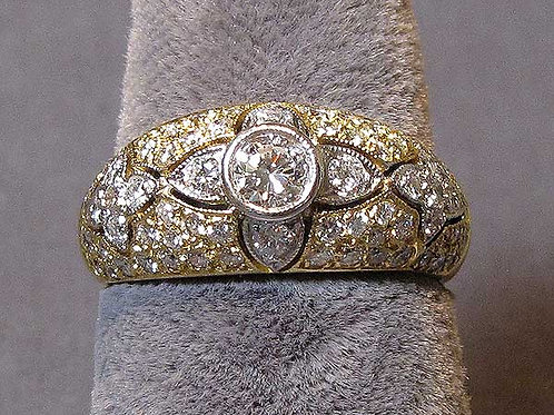 Fine 18K Yellow and White Gold Diamond Ring