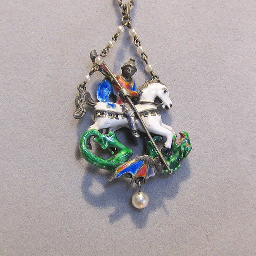 Antique Renaissance Revival St. George And The Dragon Pendant