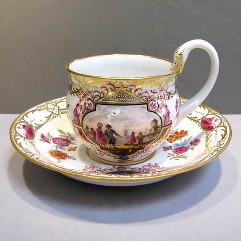 Antique 19th Century Meissen Teacup and Saucer with Maritime Scenes