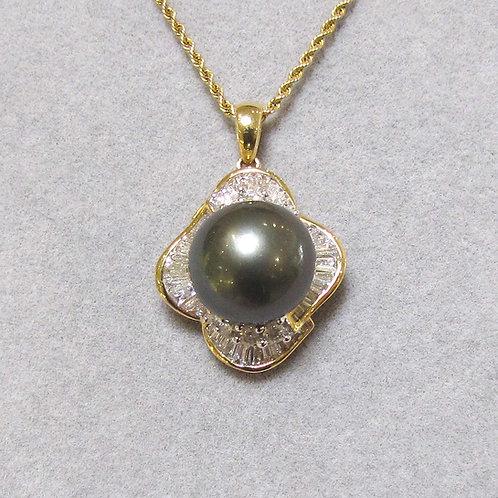 Yellow Gold Tahitian Pearl and Diamond Pendant
