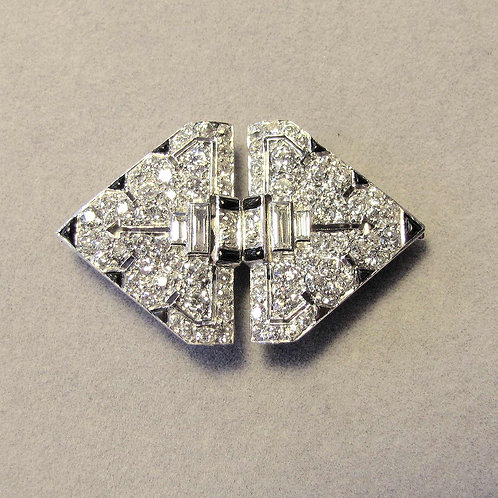 Art Deco Platinum Diamond and Onyx Double Clip Brooch