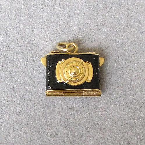 14K Enamel Camera Locket Charm