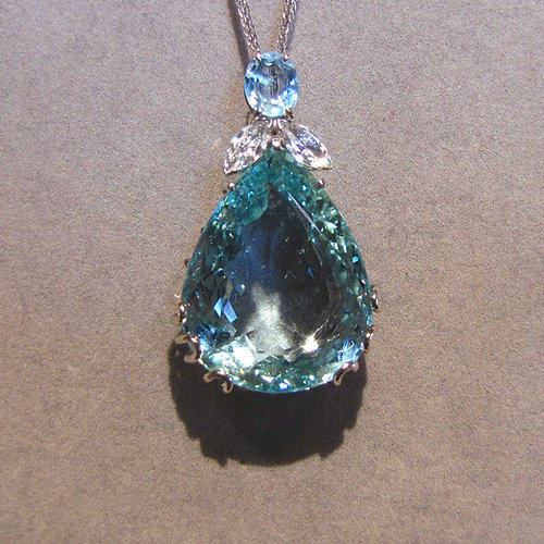 Viauestatejewelry large pear shape aquamarine diamond pendant large pear shape aquamarine diamond pendant aloadofball Gallery
