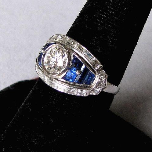 Deco Style Platinum Diamond and Sapphire Ring