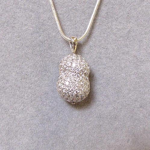 Contemporary White Gold Pave Diamond Dimensional Pendant