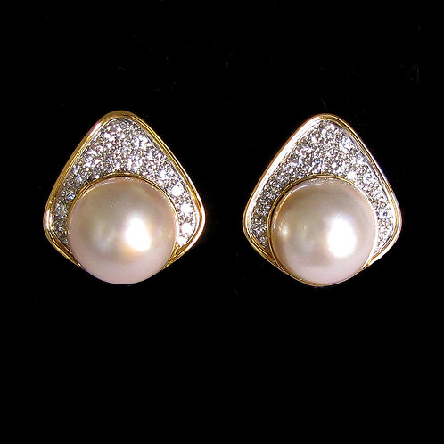 18K Mabe Pearl and Diamond Wide Teardrop Button Earrings