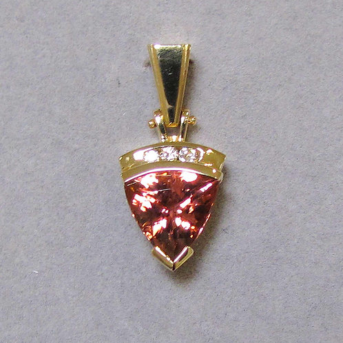 Modern Trillion Pink Tourmaline and Diamond Pendant