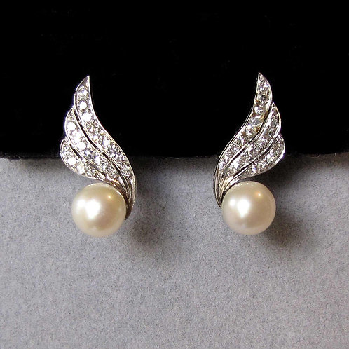 """14K White Gold Diamond and Pearl """"Wing"""" Earrings"""