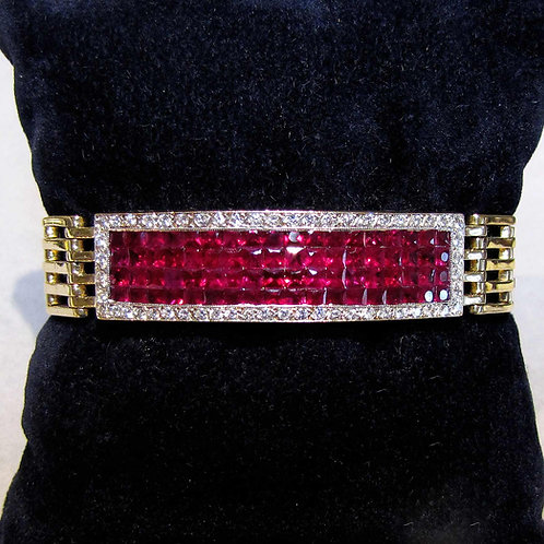14K Invisible-Set Ruby and Diamond Bracelet