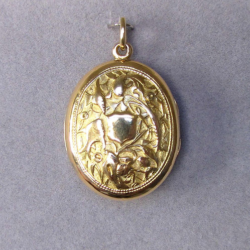 Antique Victorian 18K Oval Locket with Relief Design