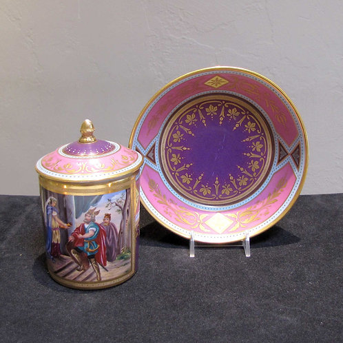 Antique Viennese Hand Painted Cup and Saucer