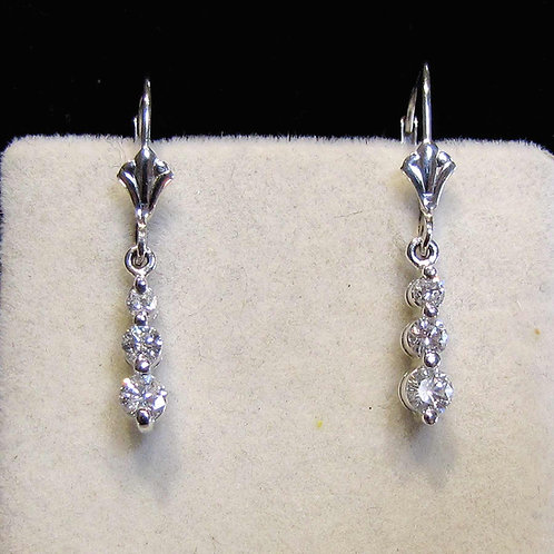 Contemporary White Gold Graduated Diamond Drop Earrings
