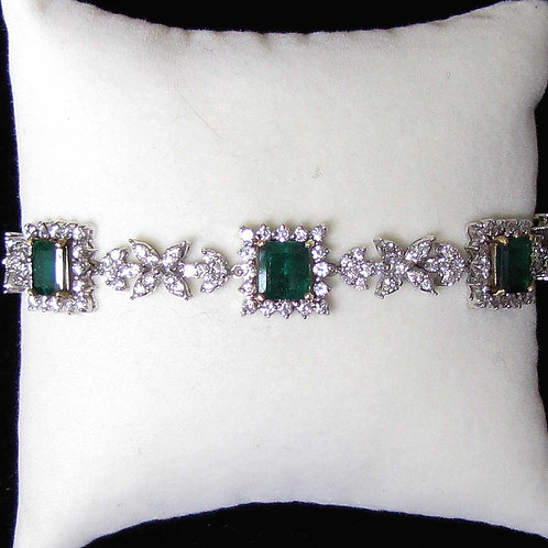 Fancy 18K Gold Emerald and Diamond Bracelet