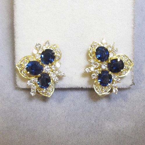 Blue Sapphire and Diamond Fancy Cluster Earrings