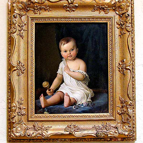 19th Century Baby Painting