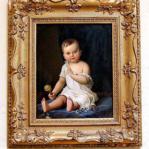19th Century Baby Painting