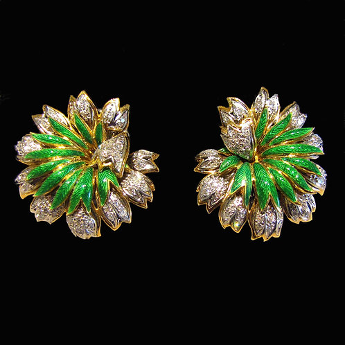 Fancy 18K Diamond and Green Enamel Stylized Flower Earrings