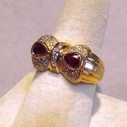 18K Ruby and Diamond Bow Design Ring