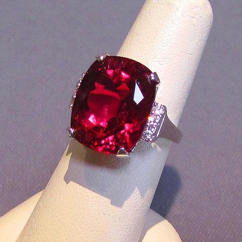 White Gold Large Cushion Cut Rubelite Tourmaline and Diamond Ring