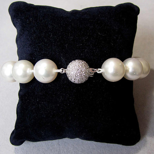 Large South Sea Pearl Bracelet with Diamond Clasp