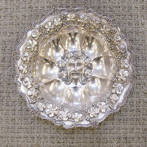Hand-Wrought 19th Century Centerpiece Bowl with Bacchus and Grape Motif