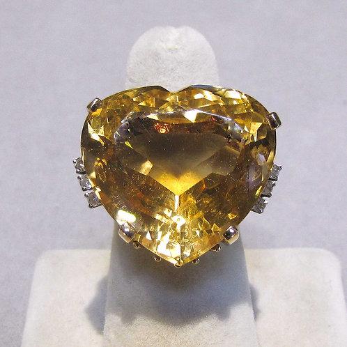 1940s 14K Large Heart Shape Citrine and Diamond Ring