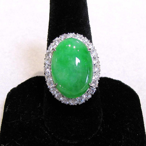 White Gold Oval Green Jadeite and Diamond Ring