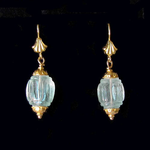 18K Carved Aquamarine Drop Earrings