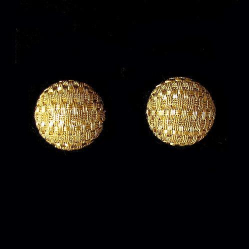 18K Textured Basket Weave Button Earrings