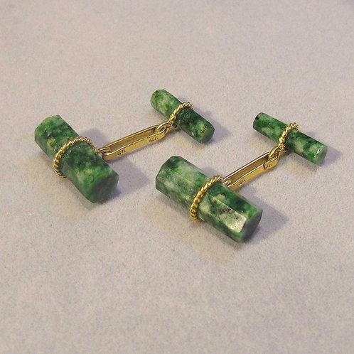 18K Green Beryl Cufflinks