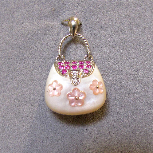 18K Pink Sapphire, Diamond and Mother-of-Pearl Purse Pendant / Charm