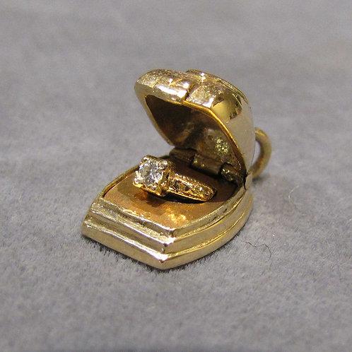 14K Diamond Engagement Ring in Ring Box Charm