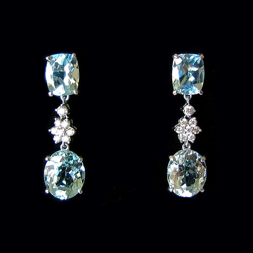 Brilliant White Gold Aquamarine and Diamond Drop Earrings