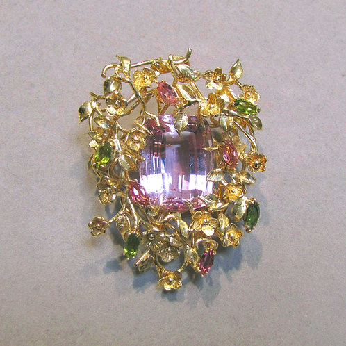 Large Kunzite and Tourmaline Floral Brooch