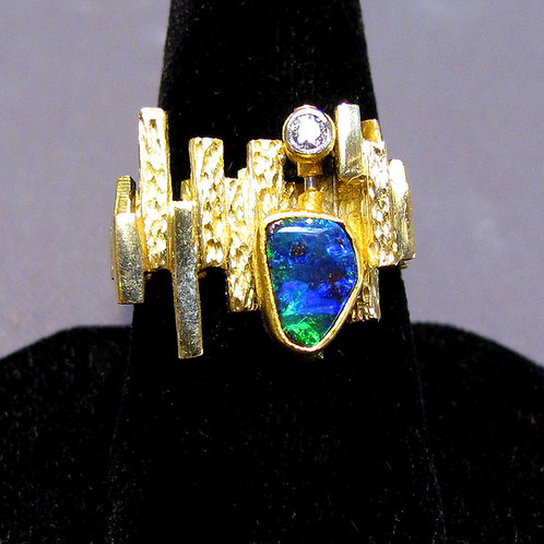 Mid-Century 18K Black Opal and Diamond Textured Ring