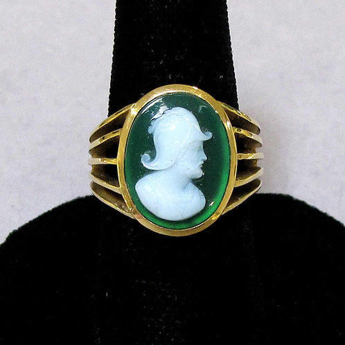 14K Green and White Hardstone Cameo Ring