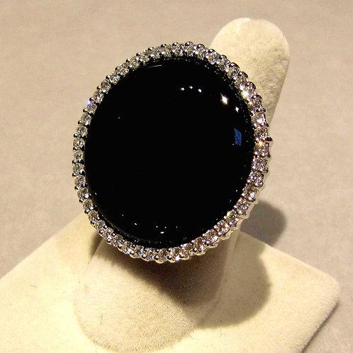 18K White Gold Round Onyx and Diamond Ring