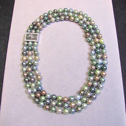 Three Strand Mixed-Color Tahitian Pearl Necklace with Diamond Clasp