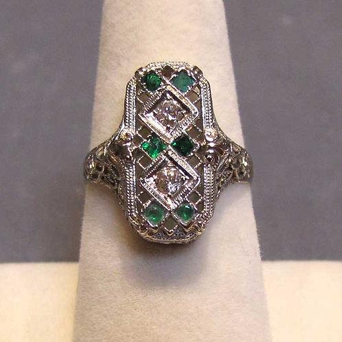 Edwardian 18K Filigree Diamond Ring Green Accents
